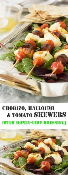 Halloumi, chorizo & tomato skewers with honey lime dressing