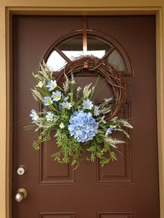 Beau Modern Summer Wreath For The Front Door   Spring Wreath   Blue Hydrangea  Wreath   Summer Wreath   Everyday Wreath   Front Door Decor   Gift