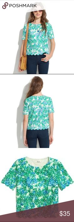 Madewell Painted LaceBloom Top M Super cute green and blue over white scallop trim top, size medium from Madewell. Great condition! 🌸 Madewell Tops