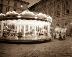Carousel in Florence, Italy - classic black and white photo carnival night evening Tuscany city merry-go-round - La Giostra.