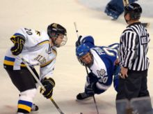 """University of Alaska Fairbanks sports teams are the Alaska Nanooks, with the word Nanook derived from the Inupiaq """"nanuq."""" Though often known as UAF within the state, the university prefers to be called simply """"Alaska"""" for athletics purposes. Shown Alaska vs Air Force in Ice Hockey."""