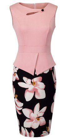 HOMEYEE Women's Elegant Chic Bodycon Formal Dress B288 at Amazon Women's Clothing store: