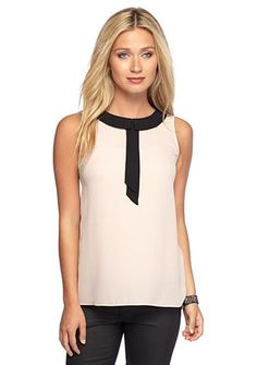 Vince Camuto Collared Two-Toned Blouse