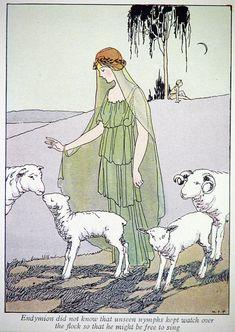 ORIGINAL 1926 Margaret Evans PRICE Illustration Mythology Print of Endymion with Sheep