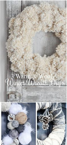 THREE EASY WINTER WREATHS FOR YOUR FRONT DOOR