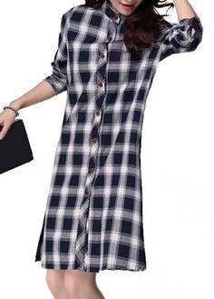 Plaid Print Side Slit Long Sleeve Dress  on sale only US$25.53 now, buy cheap Plaid Print Side Slit Long Sleeve Dress  at lulugal.com