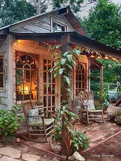 Jennys garden shed made with reclaimed building materials Living Vintage Garden Shed Diy, Diy Shed, Garden Cottage, Cottage Porch, House With Garden, Garden Shed Interiors, Backyard Cottage, Backyard Studio, Backyard Sheds
