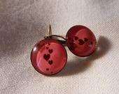"""Boucle d'oreille en bronze """"les coeurs roses"""" : Boucles d'oreille par a-fleur-de-perles"""