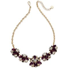 Charter Club Gold-Tone Crystal Cluster Statement Necklace, Created for... (15 CAD) ❤ liked on Polyvore featuring jewelry, necklaces, gold, statement bib necklace, pearl-cluster necklaces, chain link necklace, charter club and twisted necklace