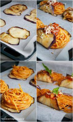 Pasta alla norma fashion: nidi di spaghetti alla norma avvolti nelle melanzane Spaghetti Soup, Pasta Recipes, Cooking Recipes, Sicilian Recipes, Food Presentation, Fett, I Love Food, Finger Foods, Food Porn