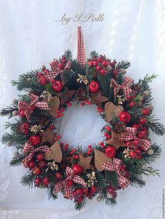 Купить Рождественский венок Время чудес - тёмно-зелёный, рождество, рождественский венок, рождественское украшение