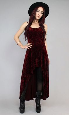 Maroon Wine Crushed Velvet Sleeveless Dress + Hat + Tights + rings + bracelets + black laced platform boots | fall autumn style