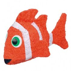 """This clown fish pinata is perfect for any party. 22"""" x 12"""" x 15"""" This Pinata is the traditional style, so get out your Pinata bat and blindfold and get to the sweets (sold separately) Please Note: Pin"""