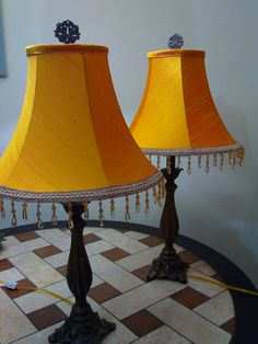 yellow silk empire shades manufactured by CMB Designs Trinidad