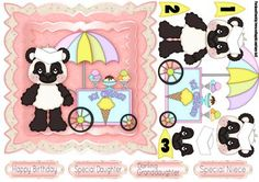 Ice Cream Panda Birthday Quick Card on Craftsuprint designed by Tanya Hall - Ice Cream Panda Birthday Quick Card, cute little panda card, can go for ages 1-3 included, but it's really open ended I just included those in case :D - Now available for download!