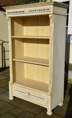 UK stockist Dovetails shares a beautiful wardrobe turned bookshelf finished in Old White & Old Ochre Chalk Paint® decorative paint by Annie Sloan. Annie Sloan Découpage medium was used to apply lettering from The Graphics Fairy followed by Craqueleur, which provided a lovely crackled finish. by marian