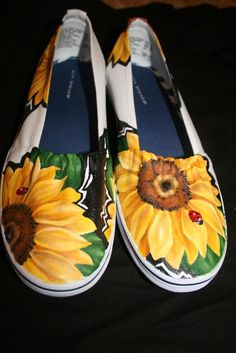 Sunflower canvas slip ons
