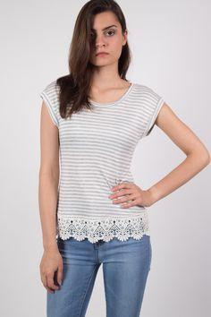 Crochet Trim Stripe T-Shirt in Cream