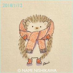 1380 寒いね It's cold. Hedgehog.