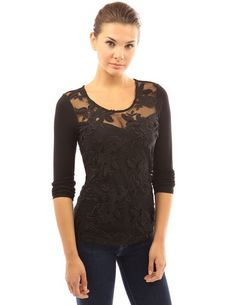 PattyBoutik Women's Floral Lace Sweetheart Top (Black L)