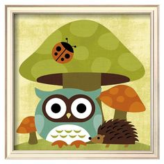 Art.com Owl and Hedgehog Framed Wall Art, Green