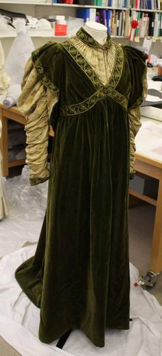 Brocaide Silk , high waist, ivy embroidery trim on heavy velvet... ivy wrist trimmed bands and empire bodice that criss-cross around bustline, trained maxi skirt, long Renaissance style cream chiffon sleeves w/ ivy lace trim & beaded edge-Aesthetic Dress