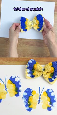Sponge butterfly printing art activity for kids. This is a fun and easy Spring art idea for preschoolers and up! spring crafts for kindergarten art projects Preschool Crafts, Easter Crafts, Kids Crafts, Spring Craft Preschool, Seashell Crafts Kids, Garden Crafts For Kids, Bug Crafts, Ocean Crafts, Beach Crafts
