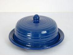 Vintage Bauer Ringware Cobalt BLUE Round Covered Butter Dish MINT!!! Signed #BAUERVintage