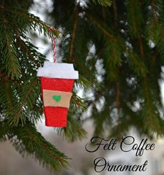 43b88a35f1137 Felt Coffee Cup Ornaments. Handmade Christmas ...