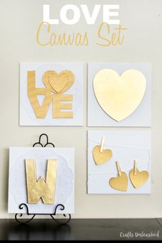Create your own high-end canvas DIY collage set with this step by step tutorial. This love themed project is perfect for Valentine's Day decor!