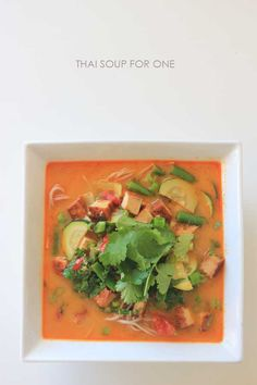 Vegan/Vegetarian Thai soup for one - a great lunch in under 10 minutes.