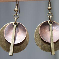 Mixed Metal Earrings Brass Copper Earrings by LeBouiBouiaBouBou, $18.00
