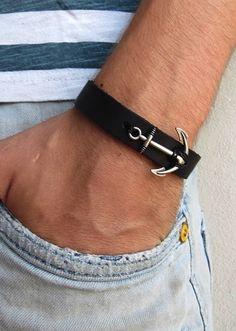 Men's Bracelet - Men's Anchor Bracelet - Men's Leather Bracelet - Men's Black Bracelet - Mens Jewelry - Jewelry For Men - Gift For Him Black Leather Bracelet, Black Bracelets, Leather Bracelets, Bracelets For Men, Anchor Jewelry, Nautical Jewelry, Male Jewelry, Jewelry Gifts, Men Rings