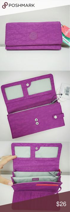 Kipling Teddi Wallet Large Organizer Brand new with tags Kipling Teddi snap wallet in cool purple color. Super lightweight! Please see Kipling's site for measurements. Received as present but I am faithful to the one I already have :) PRICE FIRM. Kipling Bags Wallets