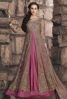 Buy Party Wear Magenta and Pink Frock Suit online (SKU Code : at Ishimaya. Latest party wear anarkali suits, designer shalwaar suits online, designer frock suits and more for Eid parties, friends & family wedding functions. Pink Beige, Magenta, Metallic Pink, Gray, Indian Gowns Dresses, Pakistani Dresses, Indian Outfits, Designer Anarkali, Designer Kurtis