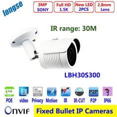 (68.00$)  Watch now  - POE HD 3MP Megapixel IP Bullet Camera P2P Netowrk CCTV Outdoor Security 2pcs Led  IR Night Vision 30M IR range