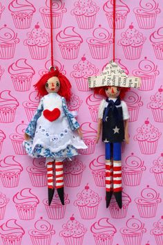 Raggedy Ann and Andy Clothespin Dolls by Hoopdeeloo on Etsy Dolly Doll, Ann Doll, Wood Peg Dolls, Clothespin Dolls, Clothes Pin Ornaments, Clothes Pegs, Doll Clothes, Kegel, Raggedy Ann And Andy