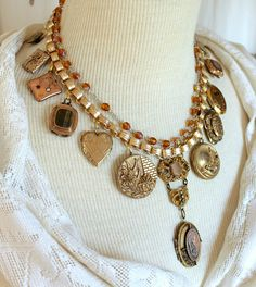 Stunning, statement, and ridiculously interesting are some of the ways to describe this amazing collage necklace, which is just a bit longer than choker style. I have been collecting vintage, antique and Victorian era memorabilia for a long time and I truly enjoy selecting these beautifully crafted bits of the past to make these stunning, over the top statement necklaces. Being able to repurpose and up-cycle small elegant bits of the past is the wonderful culmination of searching for these…