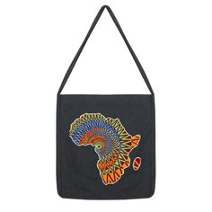 This long-strap printed tote bag is made from recycled materials. Size is x strap length approx. Printed Tote Bags, Recycled Materials, Africa, Shoulder Bag, Prints, Vintage, Design, Design Comics, Printmaking