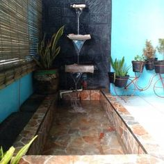 Small Patio Area Ideas Water Features 29 Ideas For 2019 Patio Planters, Backyard Patio, Covered Patio Design, Bohemian Patio, Patio Shade, Patio Flooring, Water Walls, Patio Makeover, Brick Patios