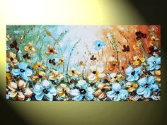 """Something Blue"" Art Abstract Painting Blue Poppies Flowers Floral Palette Knife Print Canvas Print of Original wildflower Poppy FIne Art Modern Contemporary Home Decor Light Blue, Aqua, Gold white Green Brown Nature Landscape by Collected Artist Christine Krainock"