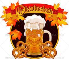 Oktoberfest Celebration Design #GraphicRiver Round Oktoberfest Celebration…