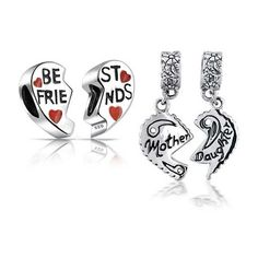 Bling Jewelry Sterling Mother Daughter Best Friends Heart Bead Set... (910 CZK) ❤ liked on Polyvore featuring jewelry, pendants, red, beads & charms, beading charms, bead bracelet, bracelet bead charms and charm pendant