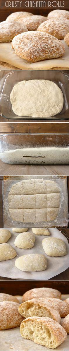 Homemade Crusty Ciabatta Rolls from Scratch. Yummy carbs! http://www.wingitvegan.com/2015/02/crusty-ciabatta-rolls-from-scratch.html