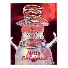 Snowman Merry Christmas Postcard - Xmascards ChristmasEve Christmas Eve Christmas merry xmas family holy kids gifts holidays Santa cards
