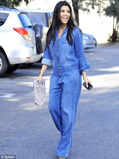 Denim not for men: Kourtney Kardashian makes a brave choice in this unfeminine denim jumpsuit