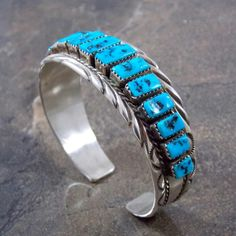 CLASSIC Navajo Sterling Silver & Turquoise Cuff Bracelet BY THOMAS TSO