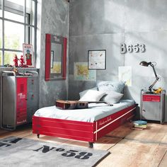 Grey and red for boys room! Very cool!