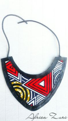 statement necklace african print african jewelry bib by AfricaZuri