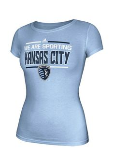 Adidas Sporting Kansas City Womens Stack Bar Light Blue T-Shirt
